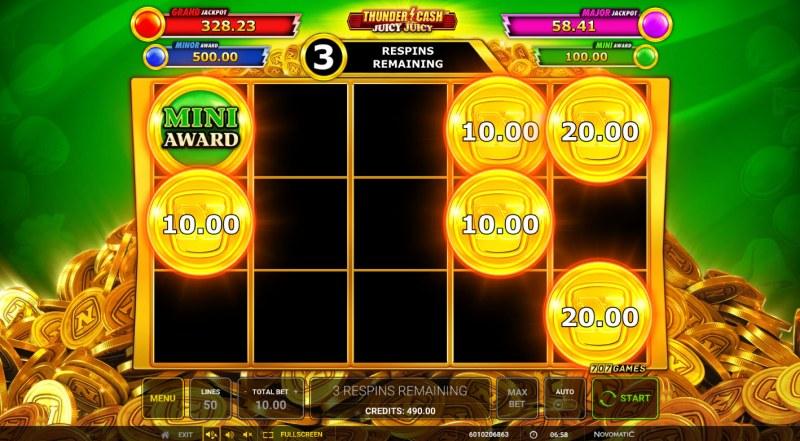 Thunder Cash Juicy Juicy :: Coin Respin Bonus Feature