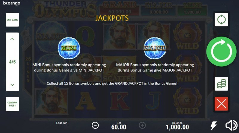 Thunder of Olympus Hold and Win :: Jackpot Rules