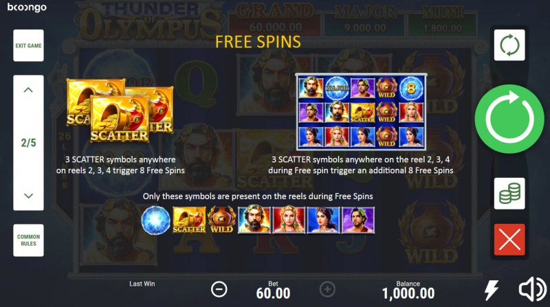 Thunder of Olympus Hold and Win :: Free Spin Feature Rules