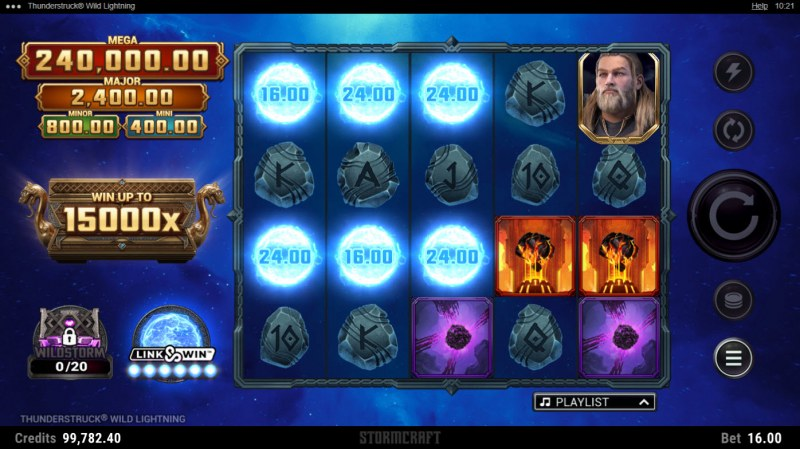 Thunderstruck Wild Lightning :: Six thunderball symbols triggers feature game