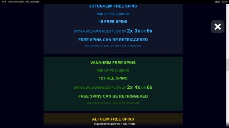 Thunderstruck Wild Lightning :: Free Spin Feature Rules