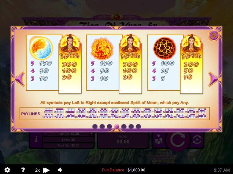 Play slots at Slots LV: Slots LV featuring the Video Slots Tian Di Yuan Su with a maximum payout of $250,000