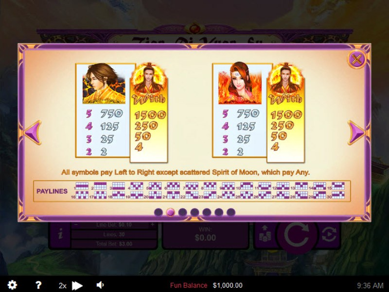Play slots at Rich Palms: Rich Palms featuring the Video Slots Tian Di Yuan Su with a maximum payout of $250,000