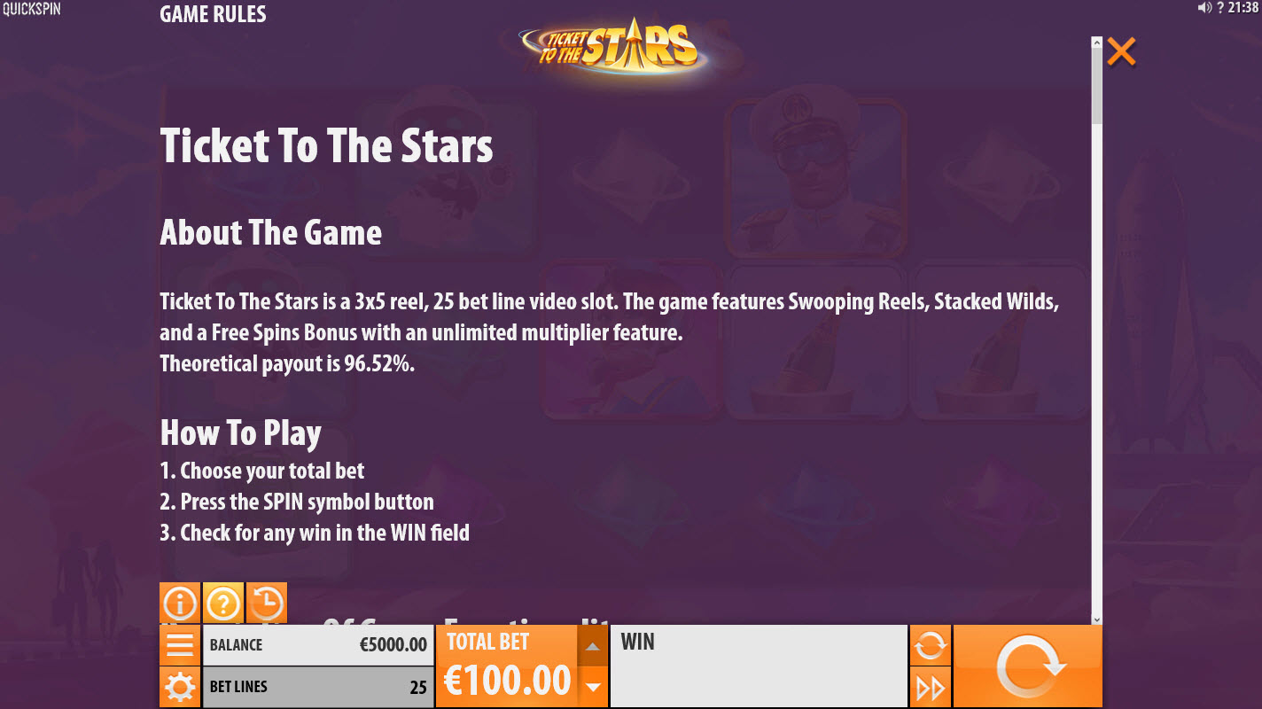 Ticket to the Stars :: General Game Rules