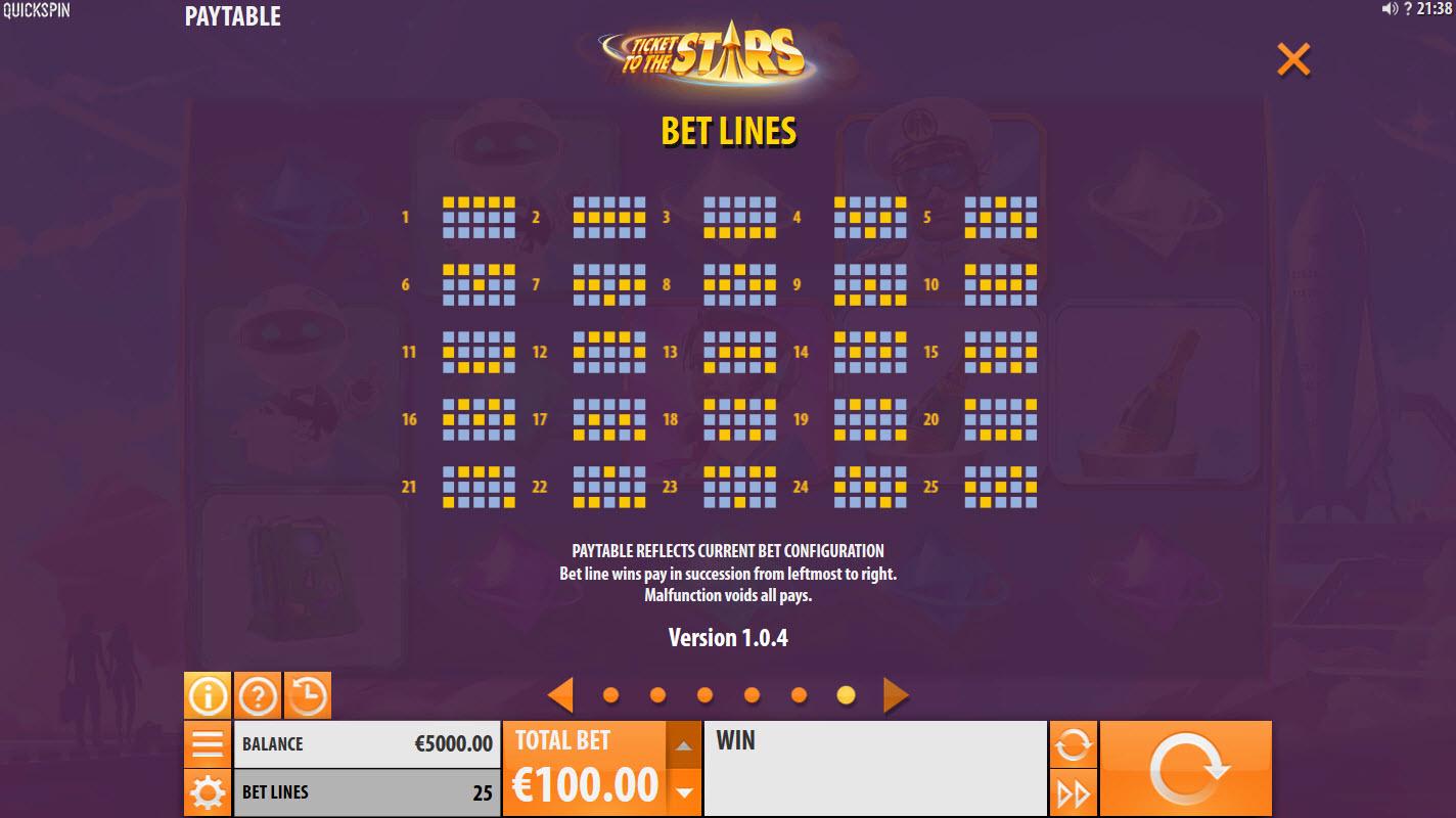 Ticket to the Stars :: Paylines 1-25