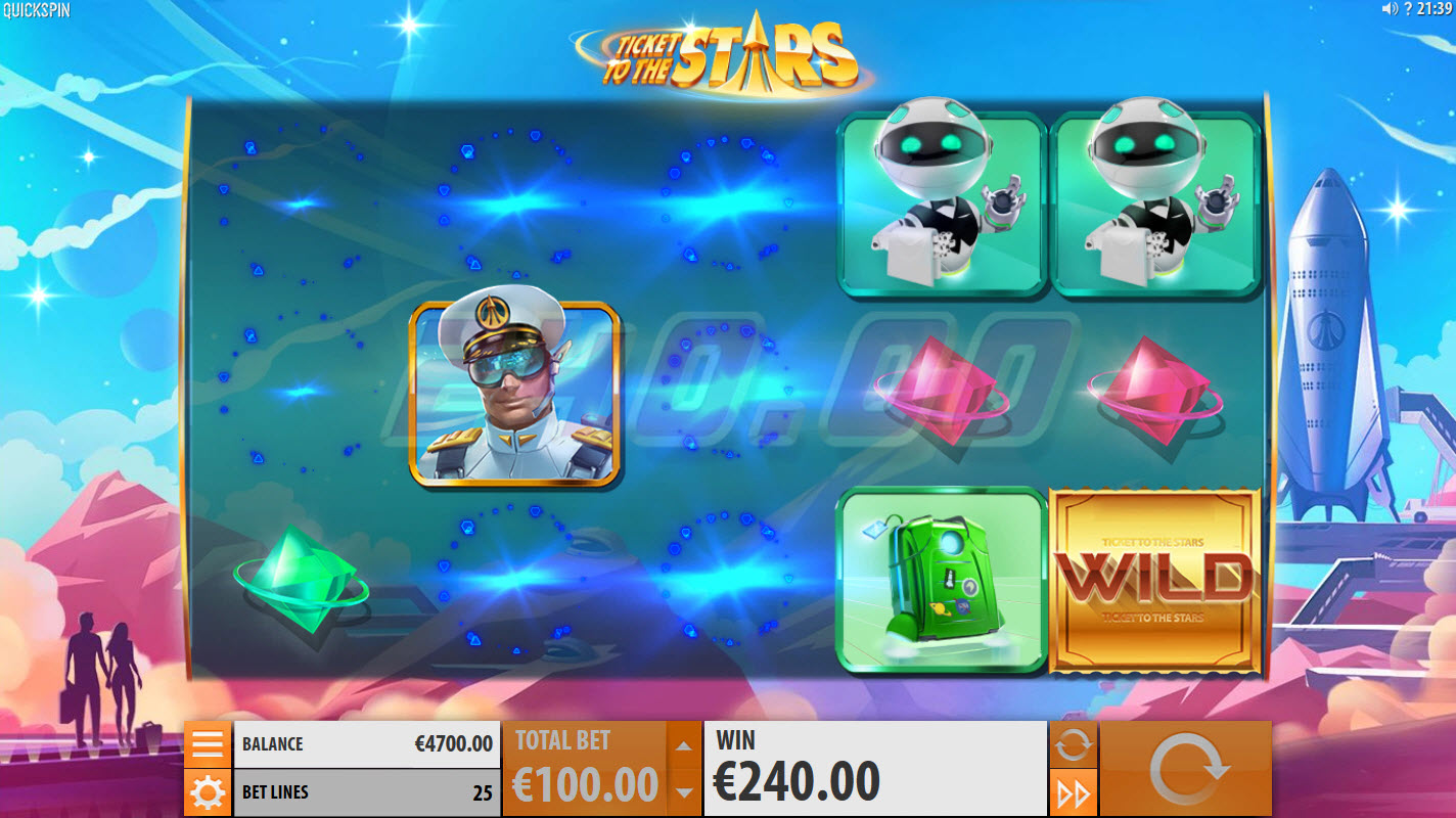 Ticket to the Stars :: Winning symbol combinations are removed from the reels and new symbols drop in place