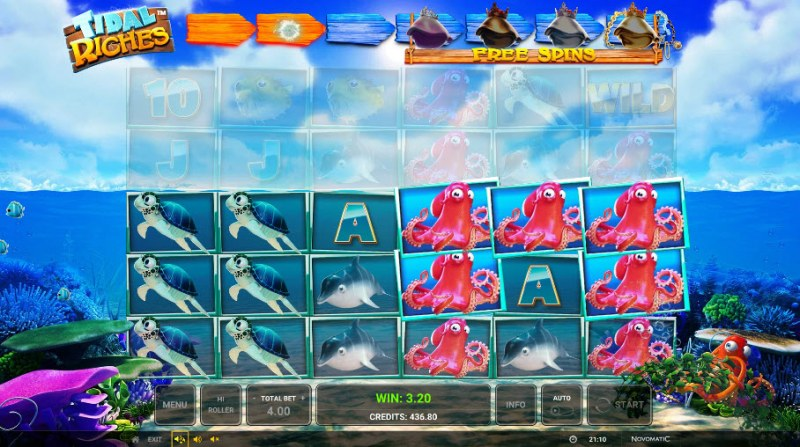 Tidal Riches :: Reel Drop and Reel Expansion triggers additional winning lines