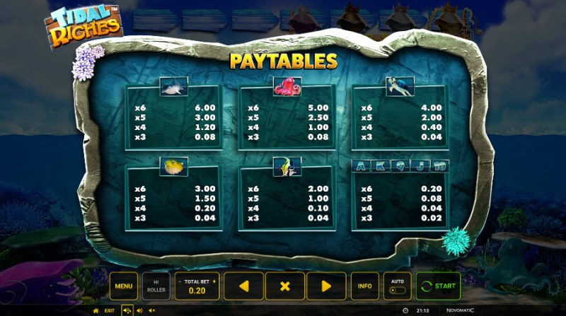 Tidal Riches :: Paytable