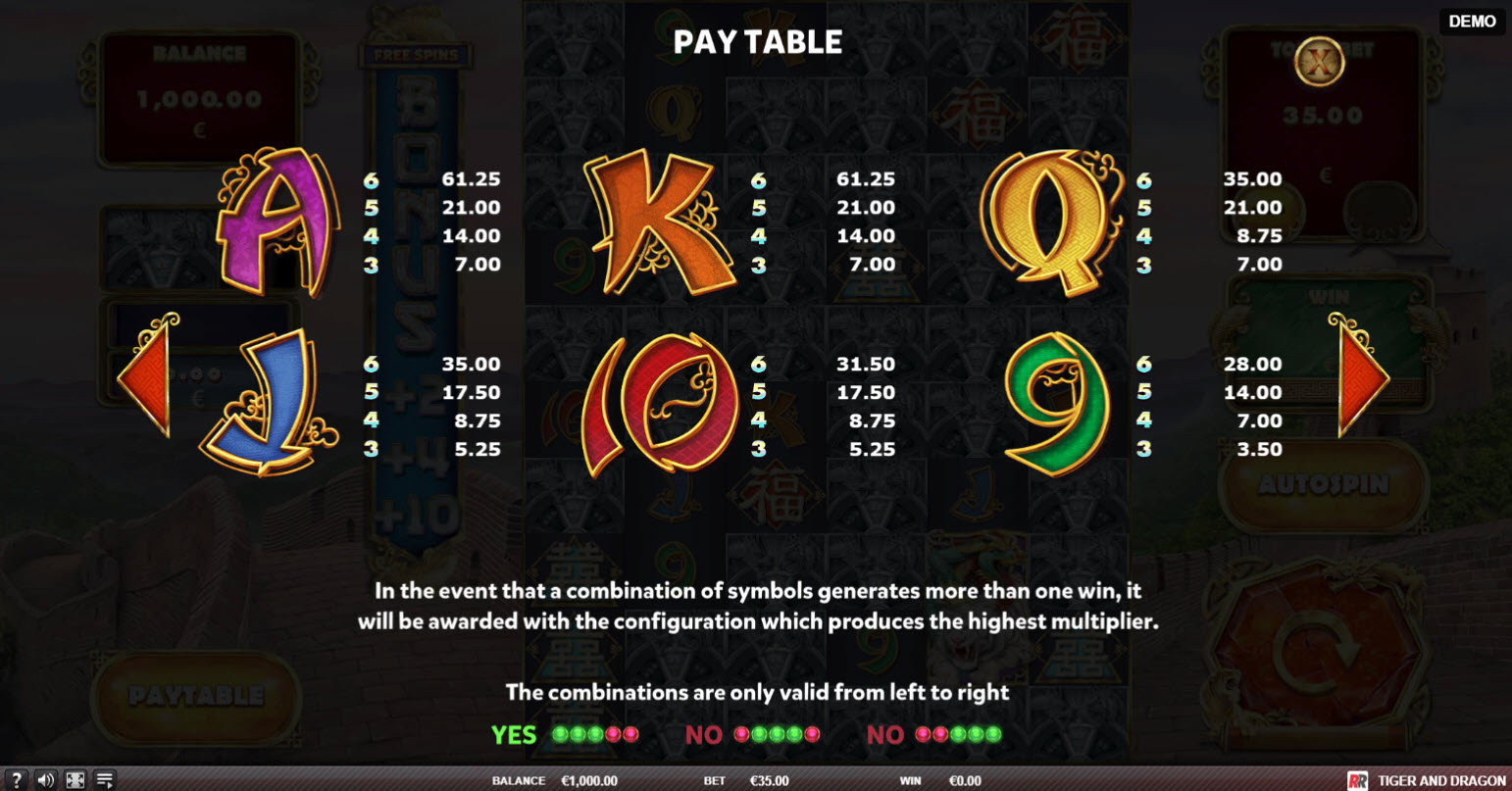 Tiger and Dragon :: Paytable - Low Value Symbols