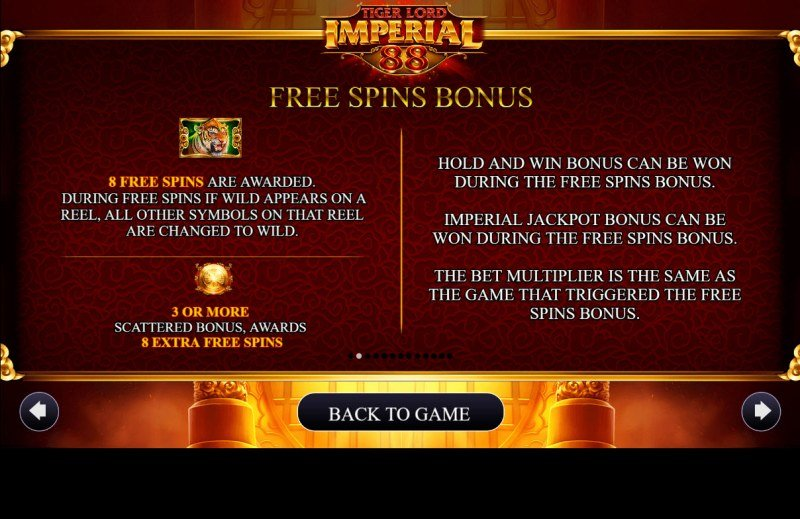 Tiger Lord Imperial 88 :: Free Spin Feature Rules