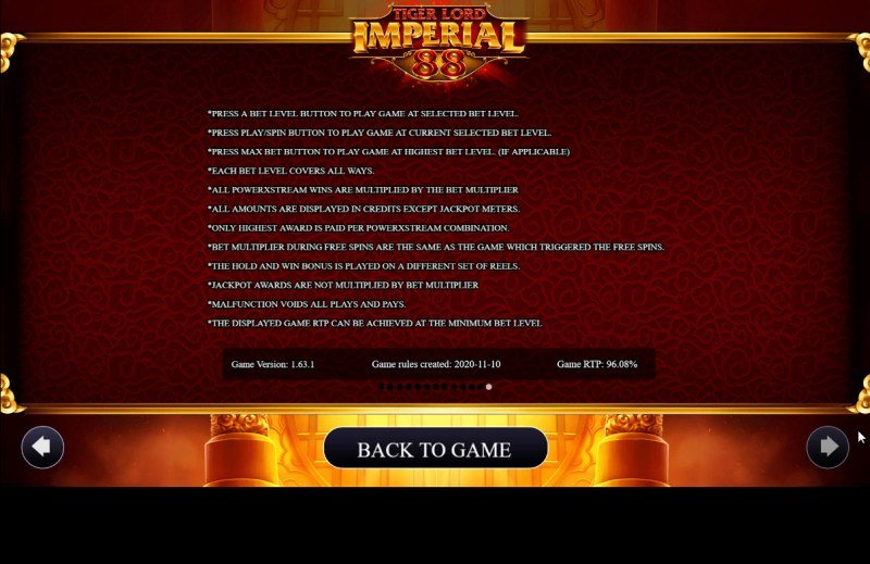 Tiger Lord Imperial 88 :: General Game Rules