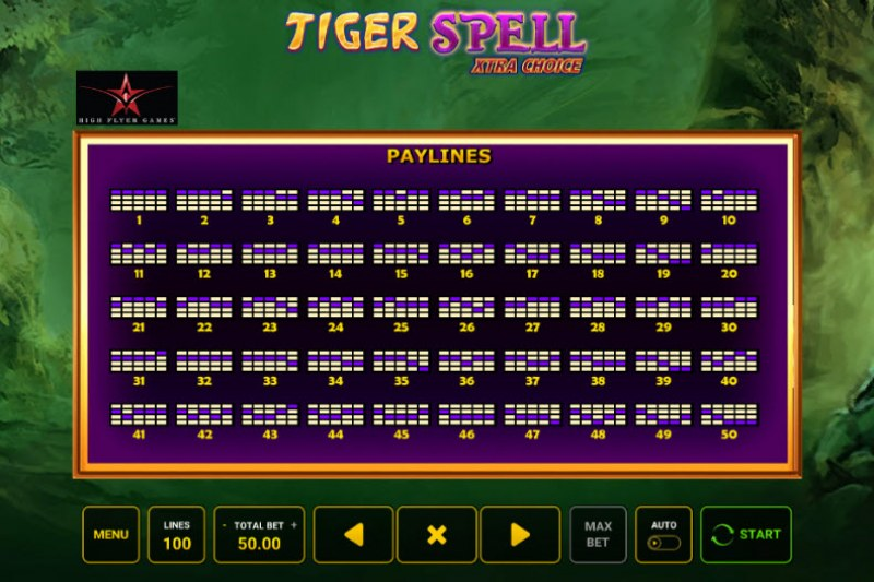 Tiger Spell Xtra Choice :: Paylines 1-50