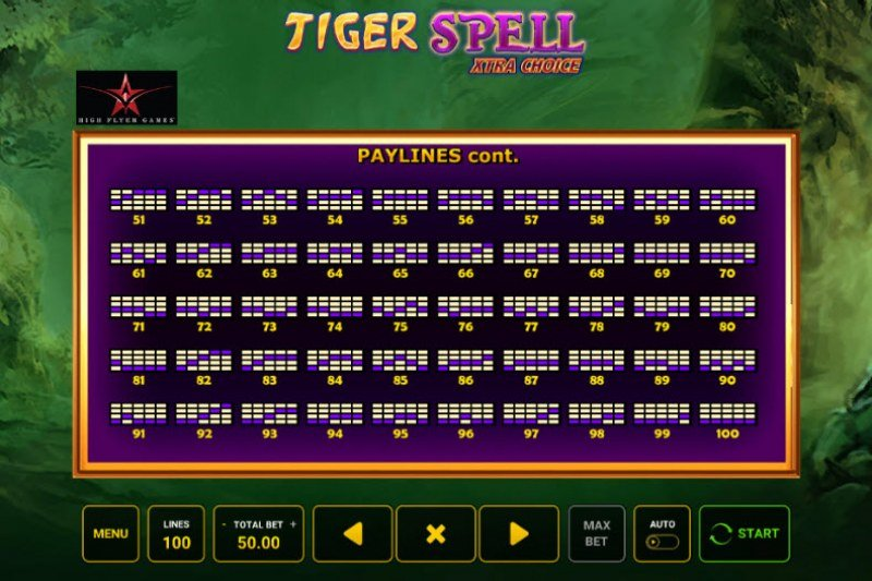 Tiger Spell Xtra Choice :: Paylines 51-100