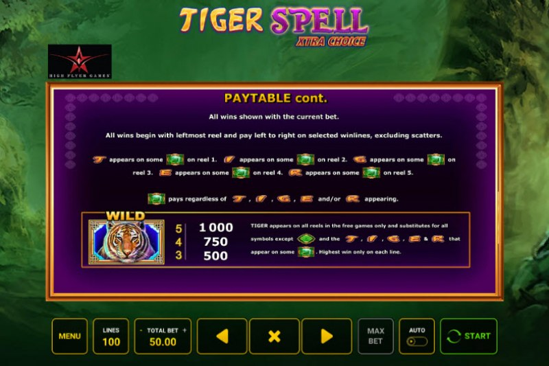 Tiger Spell Xtra Choice :: Wild and Scatter Rules