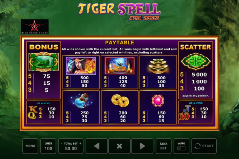 Tiger Spell Xtra Choice :: Paytable