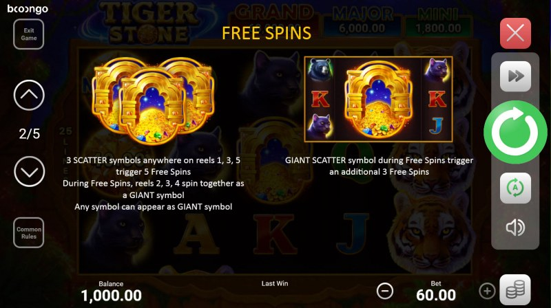 Tiger Stone :: Free Spin Feature Rules