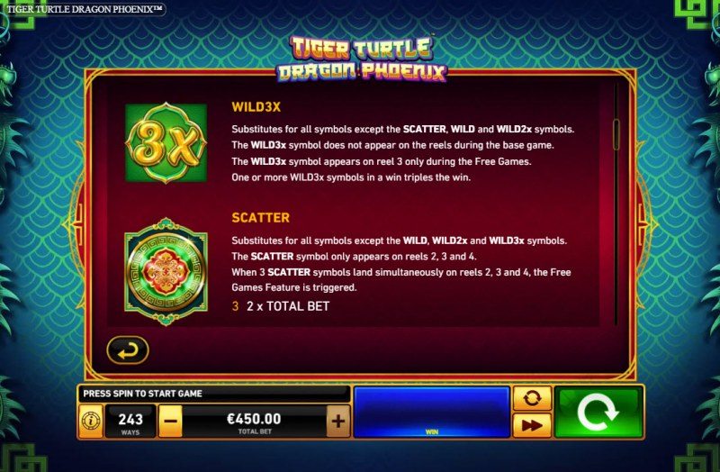 Tiger Turtle Dragon Phoenix :: Wild and Scatter Rules