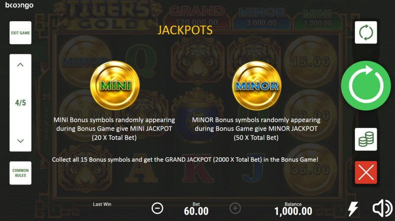 Tiger's Gold Hold and Win :: Jackpot Rules
