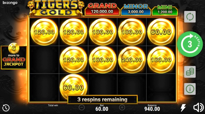 Tiger's Gold Hold and Win :: Get extra free spins when new symbols land on the reels