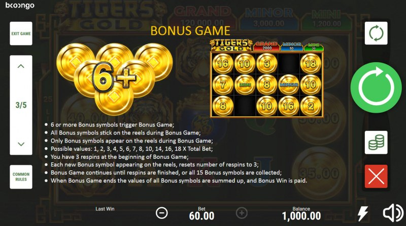 Tiger's Gold Hold and Win :: Bonus Feature