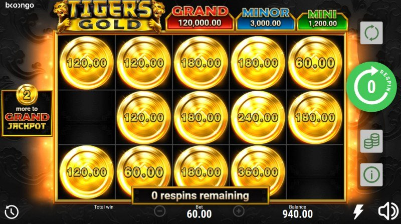Tiger's Gold Hold and Win :: Game play ends when no more money bag symbols appear on the reels