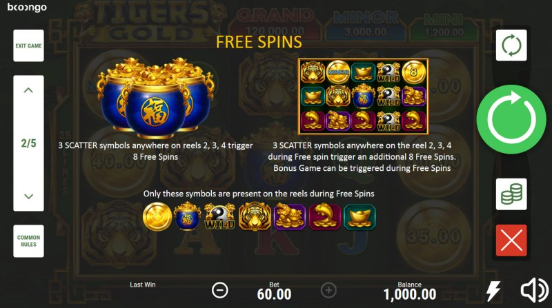 Tiger's Gold Hold and Win :: Free Spin Feature Rules