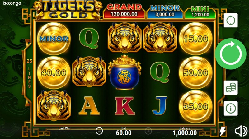 Play slots at Casino Marriott: Casino Marriott featuring the Video Slots Tiger's Gold Hold and Win with a maximum payout of $120,000