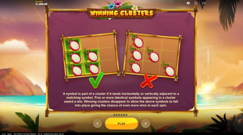 Tiki Fruits Totem Frenzy :: Cluster Wins