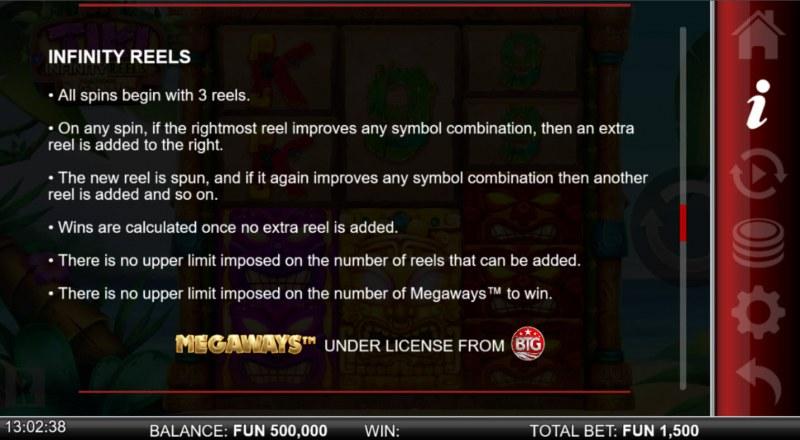 Tiki Infinity Reels Megaways :: General Game Rules