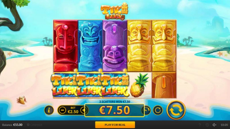 Tiki Luck :: Scatter symbols triggers the free spins feature
