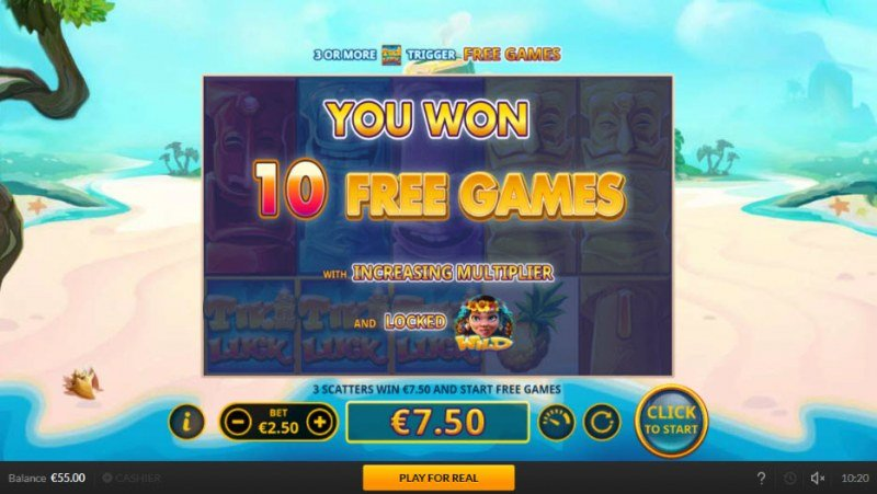 Tiki Luck :: 10 Free Spins Awarded