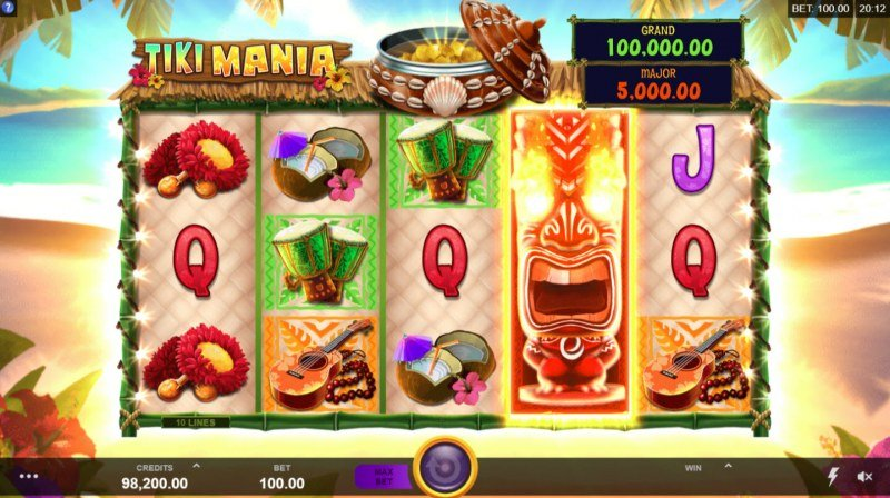Tiki Mania :: Feature triggered when a red tiki wild lands on the reels