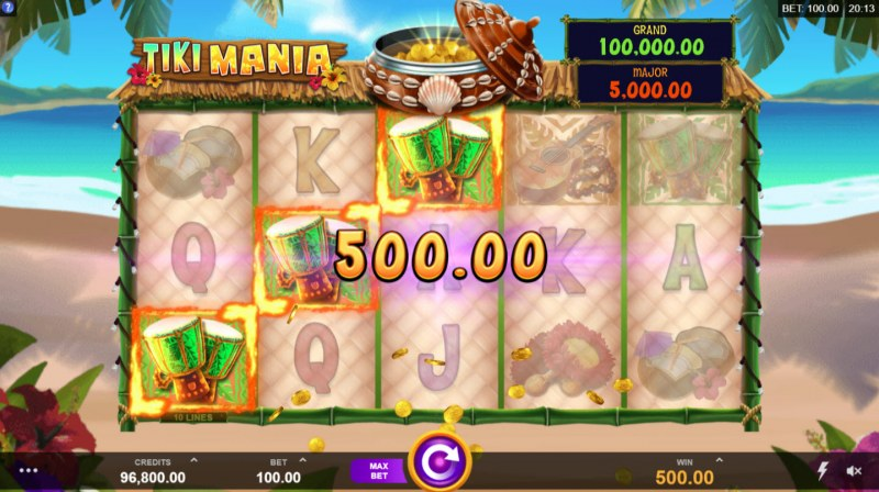 Play slots at King Billy: King Billy featuring the Video Slots Tiki Mania with a maximum payout of $100,000