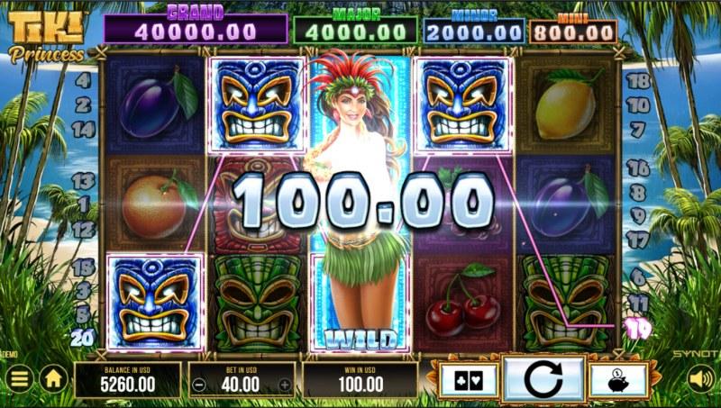 Tiki Princess :: A four of a kind win