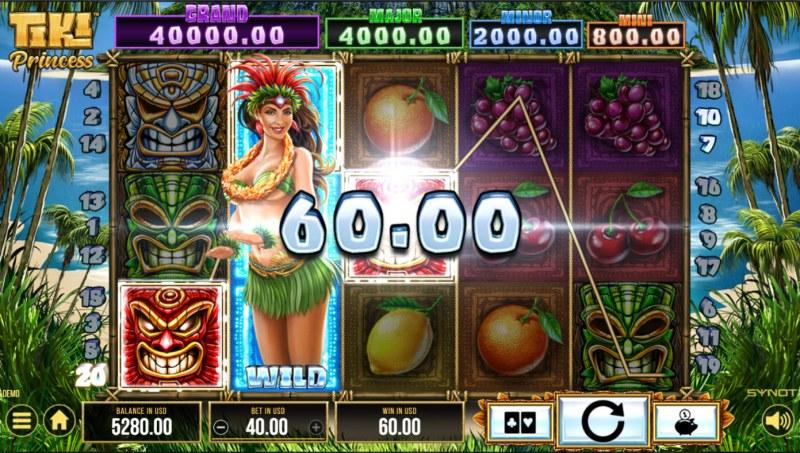 Tiki Princess :: A three of a kind win
