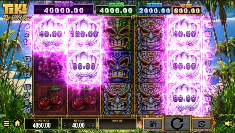 Tiki Princess :: Scatter symbols triggers the hold and win bonus feature