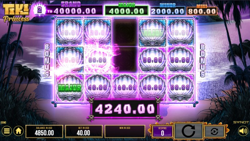 Tiki Princess :: Bonus feature ends when no additional prize scatters land on the reels
