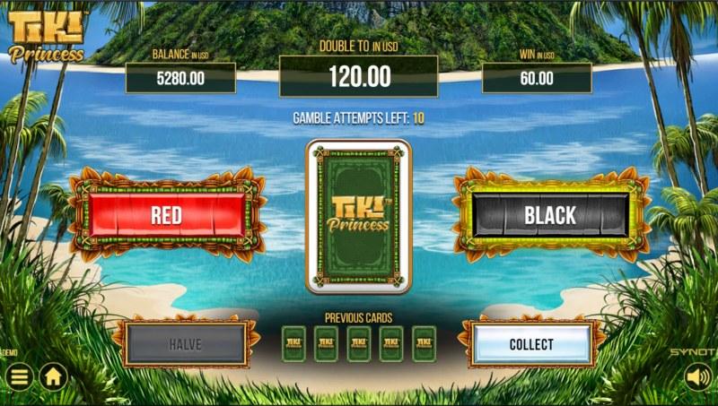 Tiki Princess :: Red or Black Gamble Feature
