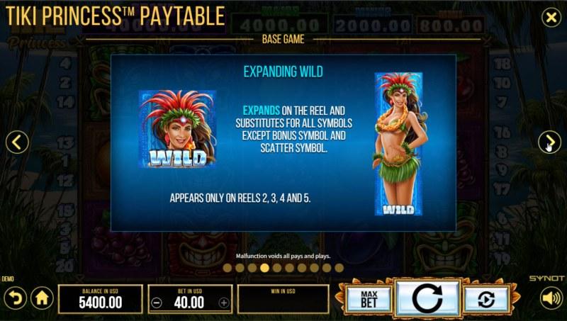 Tiki Princess :: Expanding Wild Feature