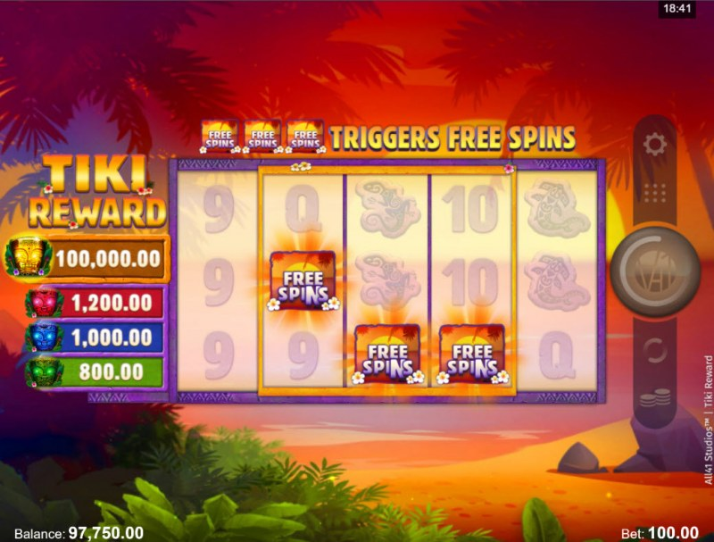 Tiki Reward :: Scatter symbols triggers the free spins bonus feature
