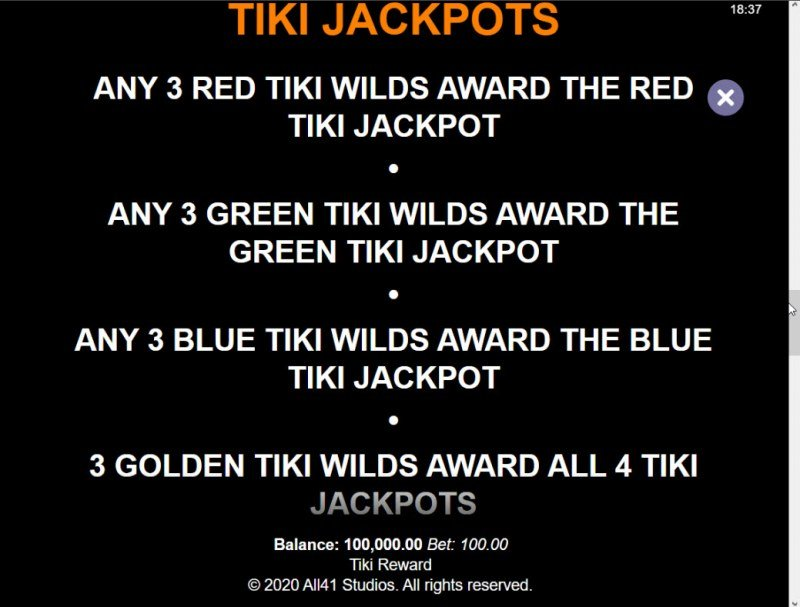 Tiki Reward :: Jackpot Rules