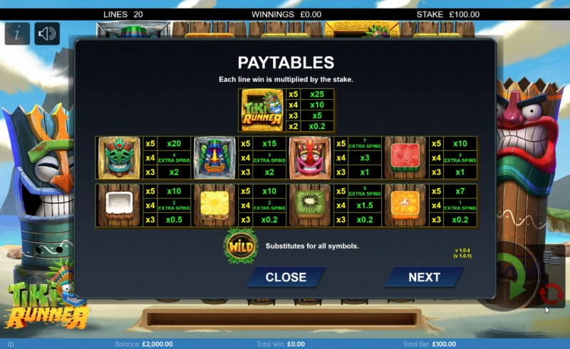 Tiki Runner :: Paytable
