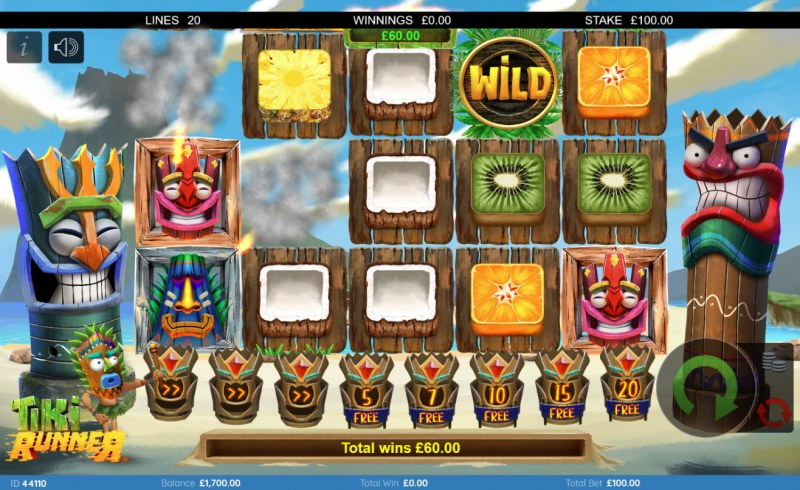 Tiki Runner :: Winning symbols are removed from the reels and new symbols drop in place