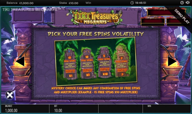 Tiki Treasures Megaways :: Pick Your Free Spins Volatility
