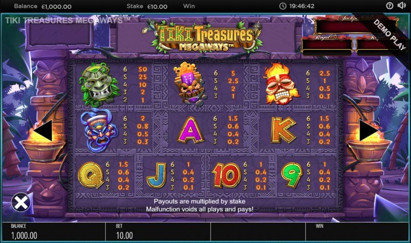 Tiki Treasures Megaways :: Paytable