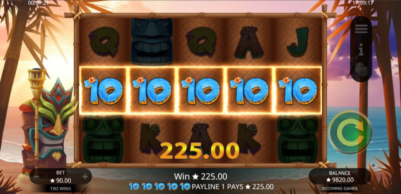 Tiki Wins :: A five of a kind win