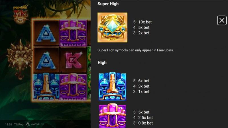 TikiPop :: Paytable - High Value Symbols