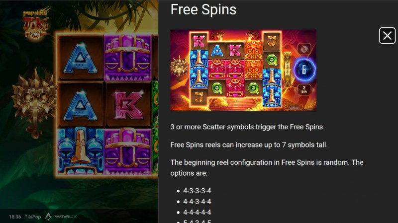 TikiPop :: Free Spin Feature Rules