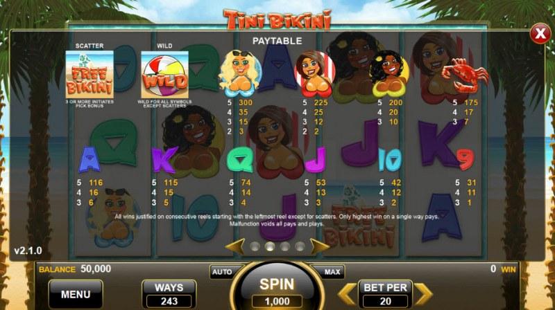 Tini Bikini :: Paytable