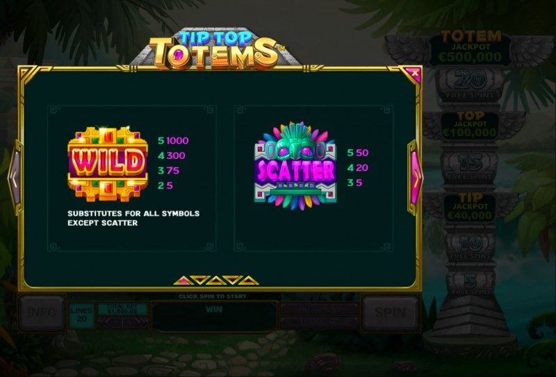 Tip Top Totems :: Wild and Scatter Rules
